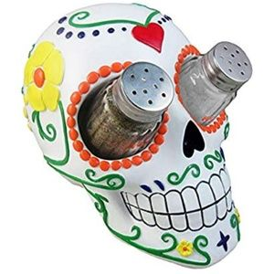 SUGAR CANDY SKULL SALT AND PEPPER SHAKER HOLDER